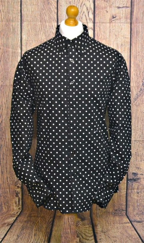"""Ray"" Large Black & White Polka Dot Shirt"